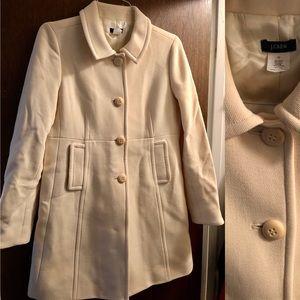 J Crew Pea Coat! Beautiful Cream Color. EUC
